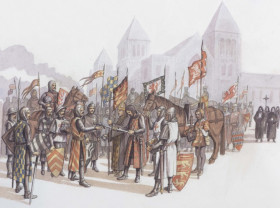 Illustration of the surrender of the King at the Priory after the Battle of Lewes